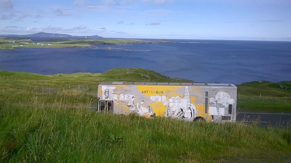 Travelling Gallery on island near the sea