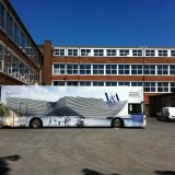 Gallery bus with V & A Dundee exterior